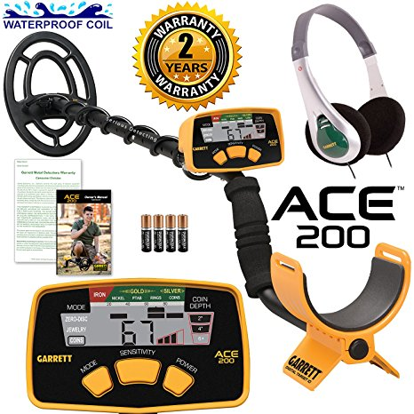 6. Garrett ACE 200 Metal Detector with Waterproof Search Coil and Headphones