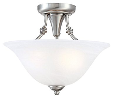 9. Hardware House 544676 Bristol 13-by-11-Inch 2-Light Semi-Flush Ceiling Fixture