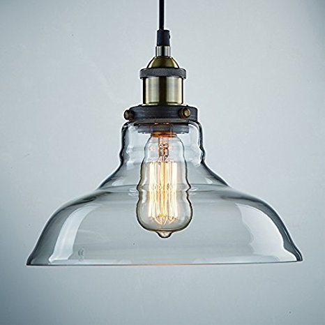2. CLAXY Ecopower Industrial Edison Vintage Style 1-Light Pendant