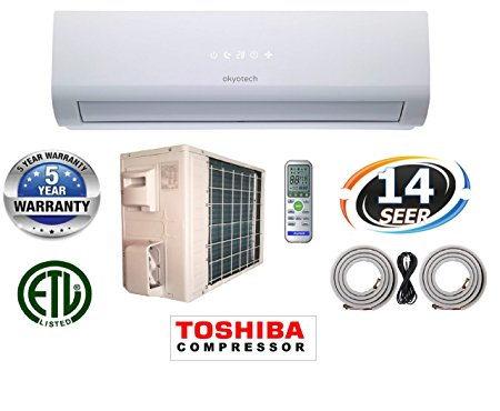 10. okyotech 18,000 BTU 1.5 TON 14 SEER Ductless Mini Split Air Conditioner