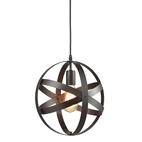 10. Truelite Industrial Metal Spherical Pendant Displays Changeable Hanging Lighting