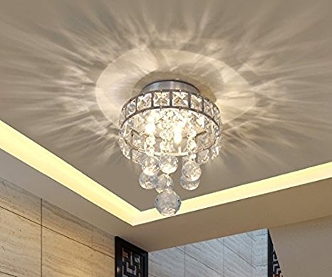 6. Mini Style 3-Light Chrome Finish Crystal Chandelier Pendant Light