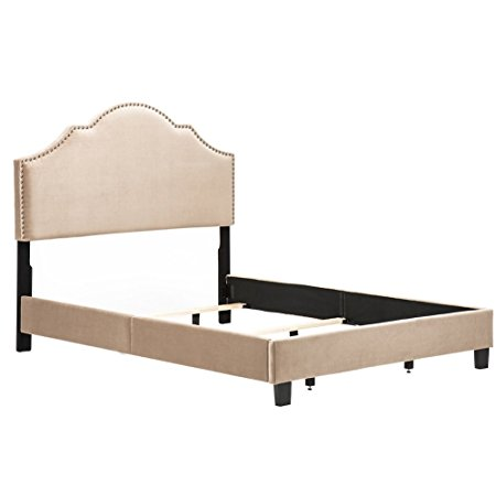7. Taupe Upholstered Nail head Frame Bed