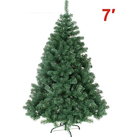 10. NEW Artificial Christmas Tree 7 ft Spruce Metal Stand Folding Realistic PINE Green---1000 tips
