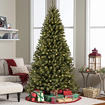 1. Best Choice Products 7.5' Ft Pre-lit Premium Spruce Hinged Artificial Christmas Tree