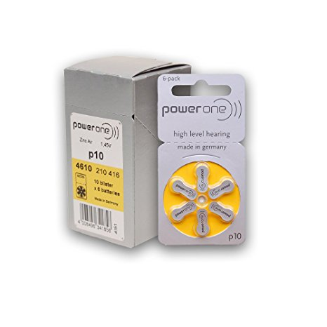 7. Power One Zinc Air Hearing Battery (Yellow) Size