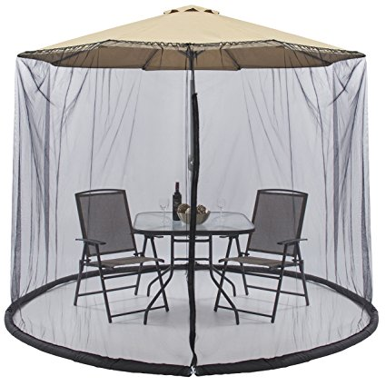 9. Best Choice Products Outdoor 9 Foot Patio Umbrella Screen- Black