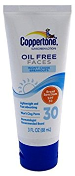 10. Coppertone Oil Free Lotion for Faces SPF 30 Sunscreen 3 oz/
