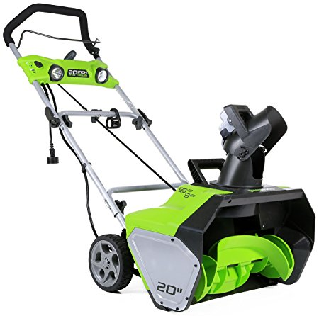 3. GreenWorks 2600202 13 Amp 20-Inch Corded Snow Thrower With Light Kit