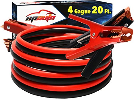 2. EPAuto 4 Gauge x 20 Ft 500A Heavy Duty Booster Jumper Cables