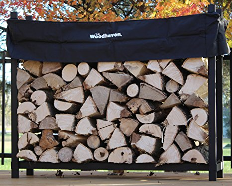 10. The Woodhaven 5 Foot Firewood Log Rack with Cover