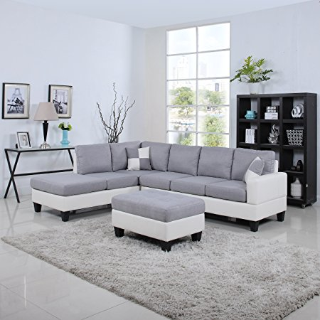 9. Classic Two Tone Large Linen Fabric and Bonded Leather Living Room Sectional Sofa