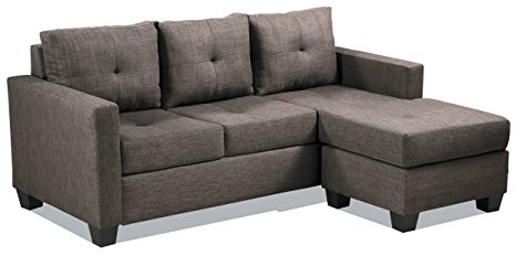 4. Homelegance Phelps Contemporary Tufted Sectional Sofa with Reversible Chaise
