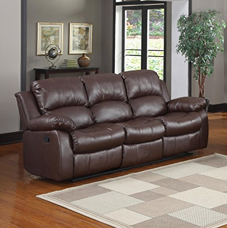 1. Bonded Leather Double Recliner Sofa