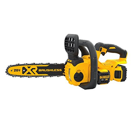 7. DEWALT DCCS620P1 20V Max Compact Cordless Chainsaw Kit with Brushless Motor