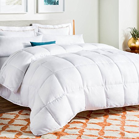 1. LINENSPA All-Season White Down Alternative Quilted Comforter - Queen Size