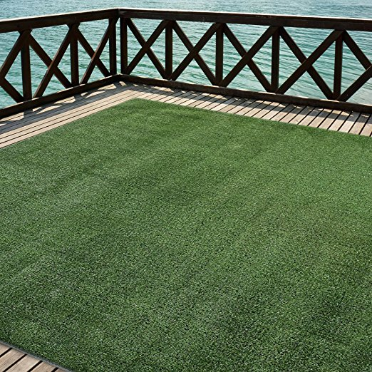 5. iCustomRug Outdoor Turf Rug in Green Artificial Grass
