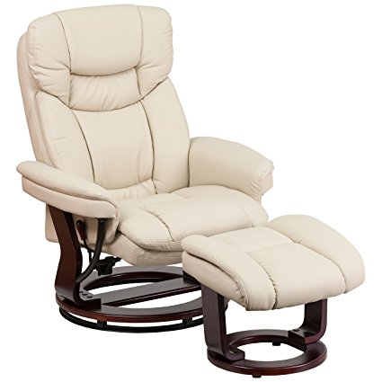 5. Flash Furniture Contemporary Beige Leather Recliner and Ottoman