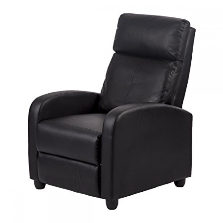 10. New Black Modern Leather Chaise Couch Single Recliner