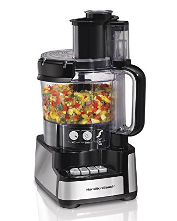 2. Hamilton Beach 12-Cup Stack and Snap Food Processor