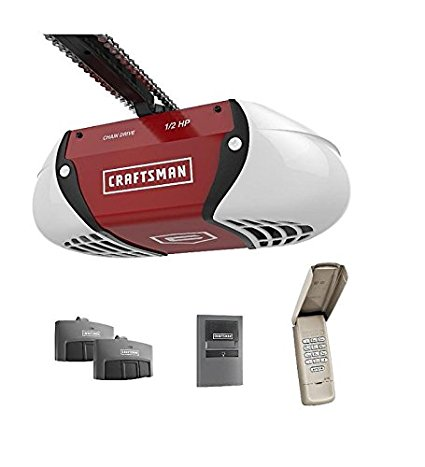 8. Craftsman ½ HP Chain Drive Garage Door Opener with two Multi-Function Remotes and Keypad