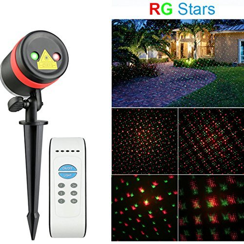 6. Waterproof Outdoor LED Red & Green Star Laser Lights